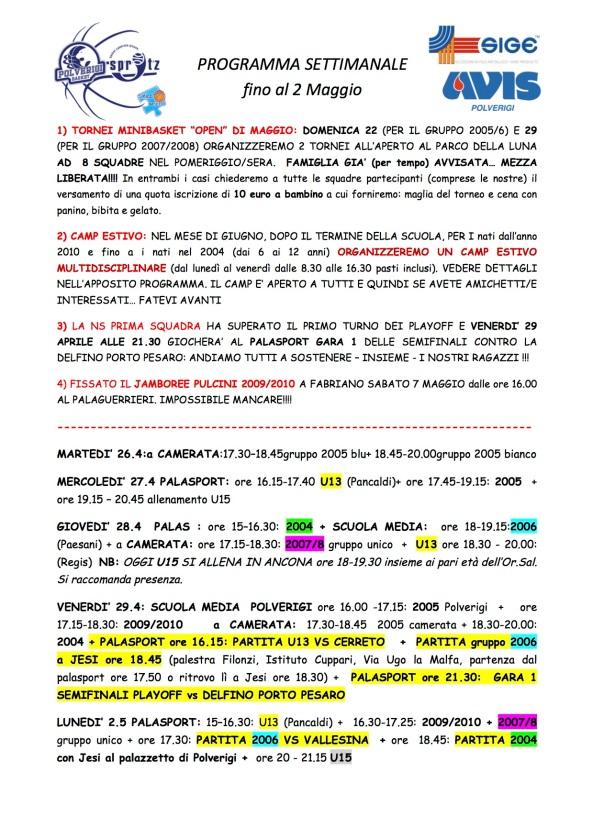 2016_4_25 PROGRAMMA SETTIMANALE